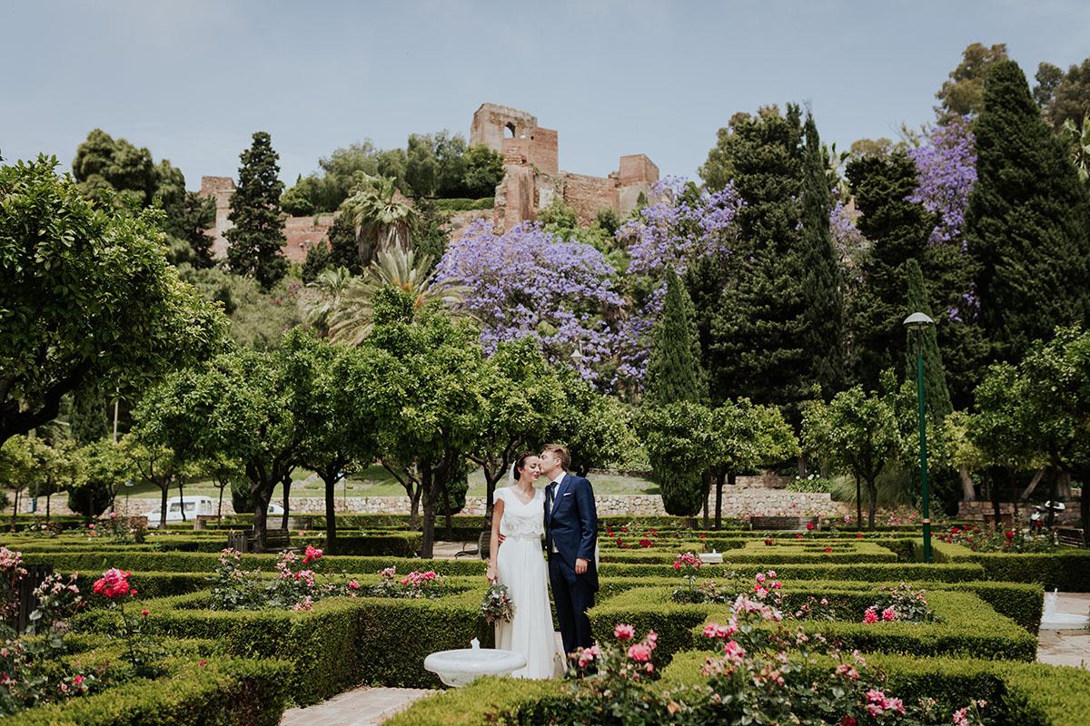jardin novios boda málaga