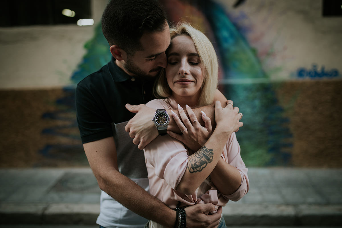 fotografía pareja abrazo